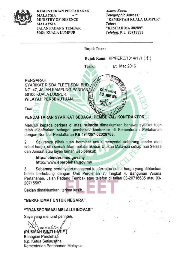 Pendaftaran Sebagai Pembekal – Kementerian Pertahanan Malaysia
