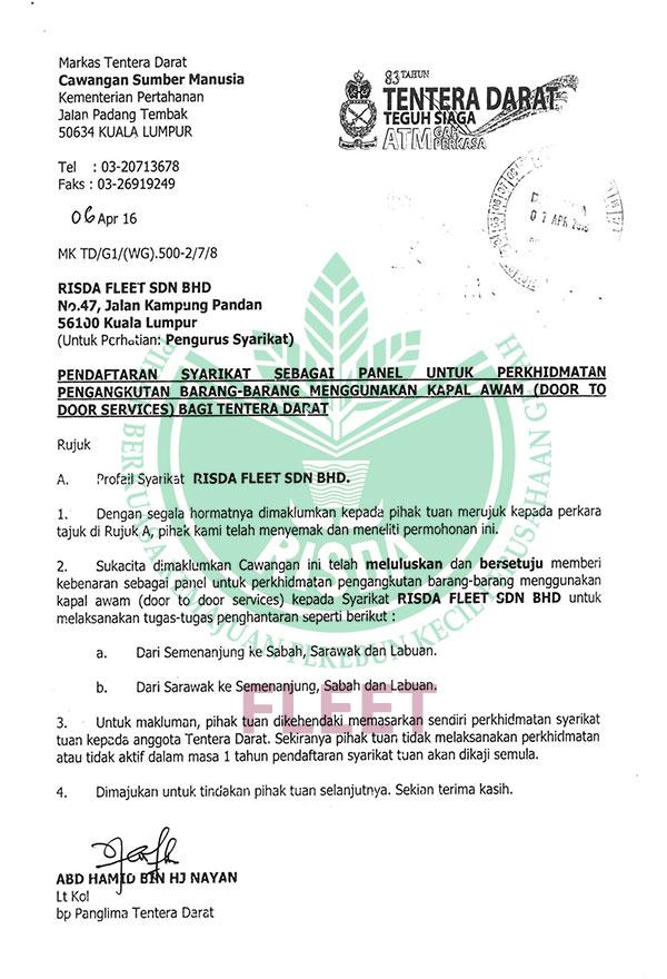 Pendaftaran Sebagai Panel untuk Perkhidmatan Pengangkutan – Angkatan Tentera Malaysia