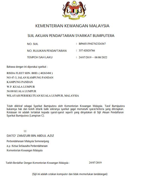 Pendaftaran dengan Kementerian Kewangan Malaysia Bumiputera